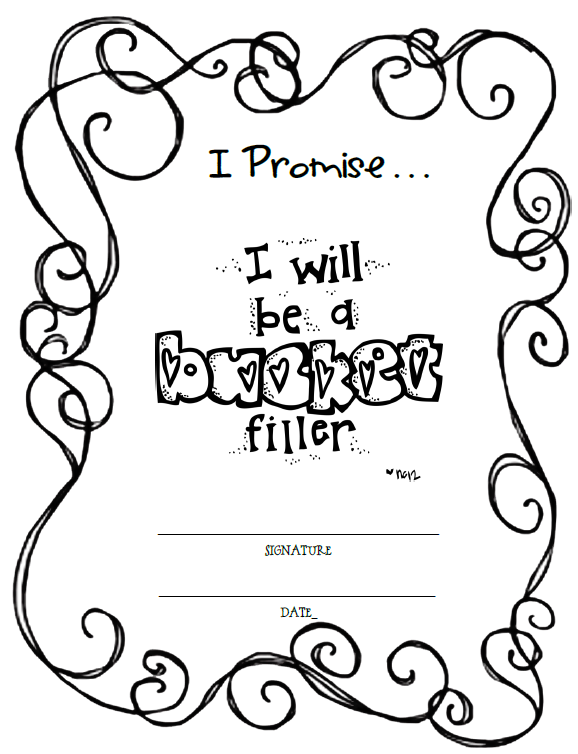 Fun for first bucket filler freebie for Bucket filler coloring page