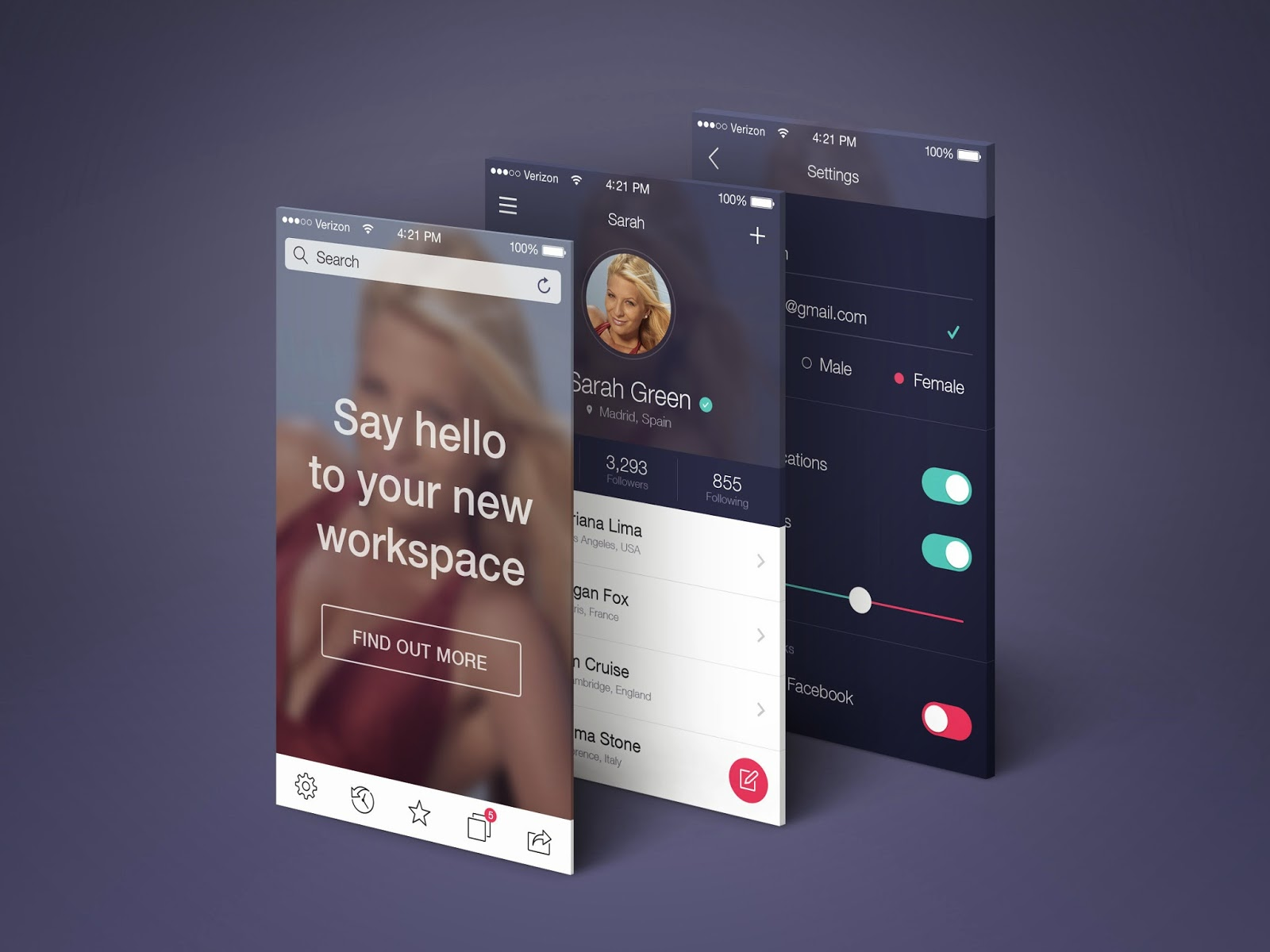app screens perspective mockup psd
