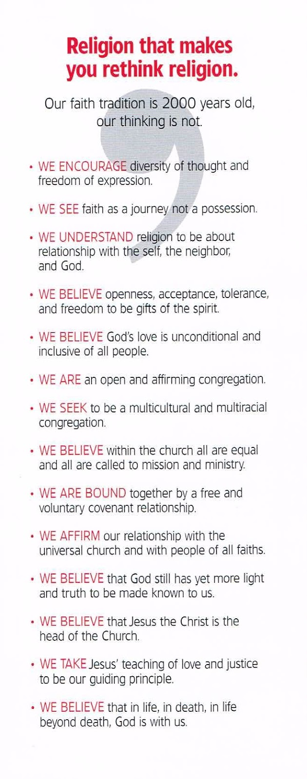 the back of a card in the pews
