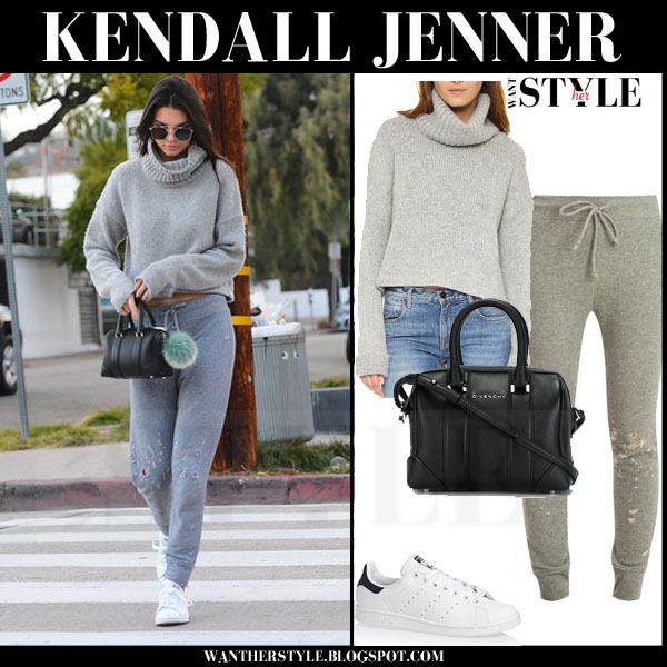 Kendall Jenner in grey turtleneck one teaspoon entourage sweater and grey distressed rta lou sweatpants what she wore