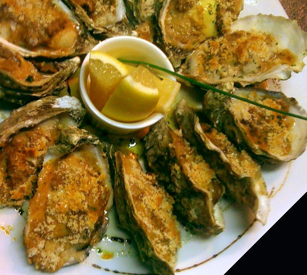 Baked Oysters with a Bacon & Blue Cheese Crumb