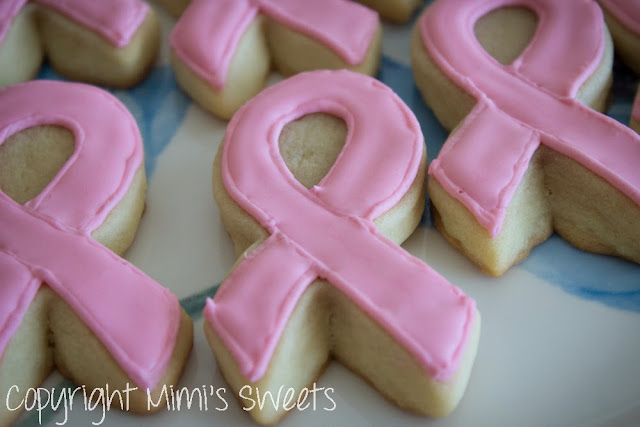 Pink Ribbon Sugar Cookies - Breast Cancer Awareness