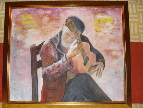 GITARISTA -ulje na platnu 65x55cm Vladisav Bogicevic slikar Luna-Nis