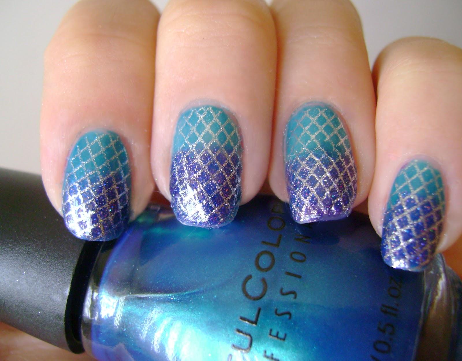 acrylic nail art designs: Mermaid nail art