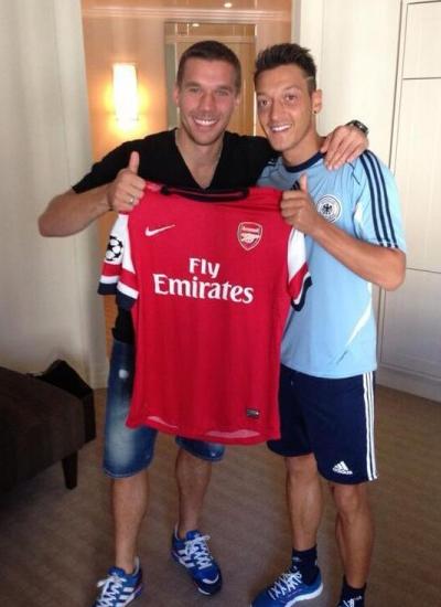 Mesut Ozil and Lukas Podolski Arsenal 2013