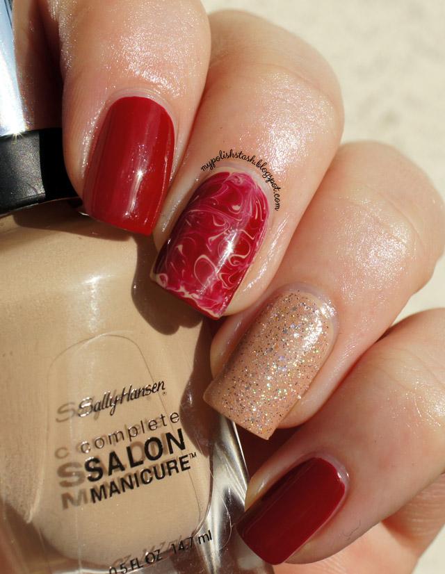 manicure red nude Essie Sally Hansen