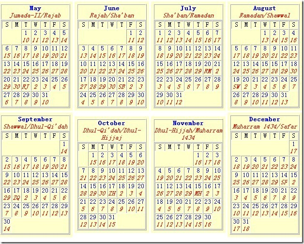 islamic calendar 2014 south africa