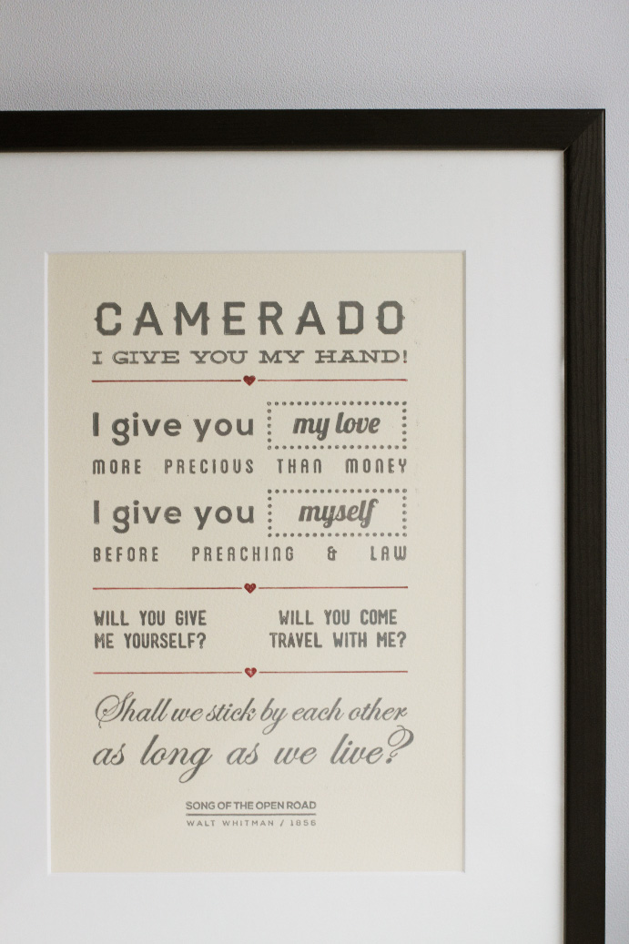 Letterpress Print - Song of the Open Road - Walt Whitman