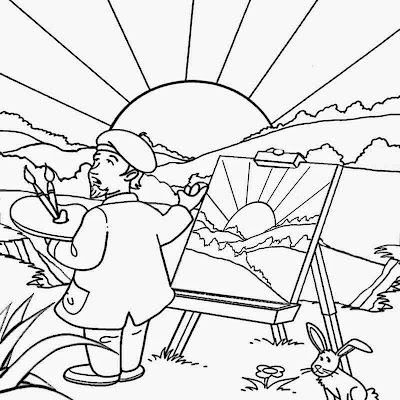 sunny landscape painting free art and crafts for preschool summer coloring pages to print for kids