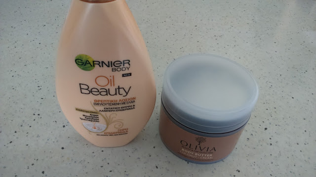 Olivia Body Butter (Coconut-Cream) and Garnier Body Oil Beauty Lotion