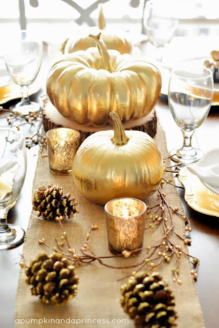 gold pumpkin centerpieces