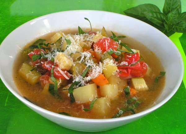 Soup minestrone from Rome, Mediterranean diet, Italian recipe,