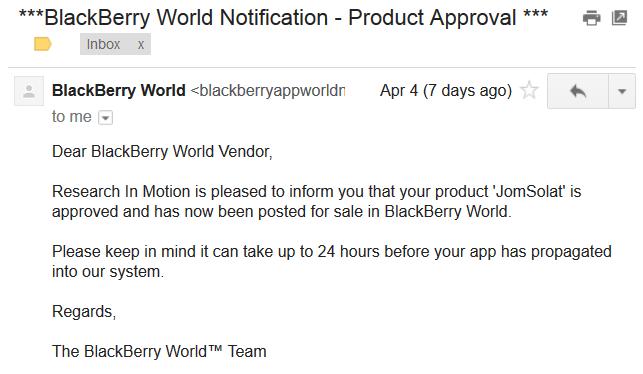 JomSolatBBAppWorld JomSolat di BlackBerry World