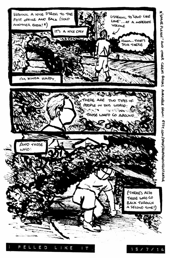 comic about embracing ones inner child and walking under a fallen tree rather than around it