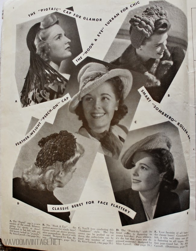 1940s vintage crochet hat and snood patterns from Va-Voom Vintage with Brittany