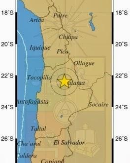 Epicentro sismo 5,7 grados en el norte de Chile, el 12 de Febrero 2014
