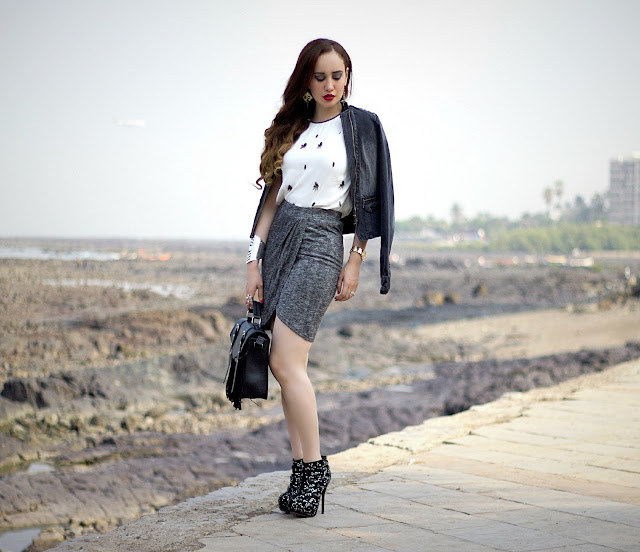 ONLY Denim Biker Jacket, Embellished White Top, Grey Drape Skirt, edgy Party Look, Fringe Bag