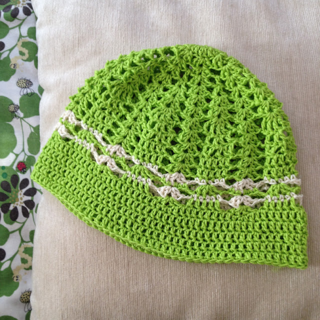 cotton green crochet hat