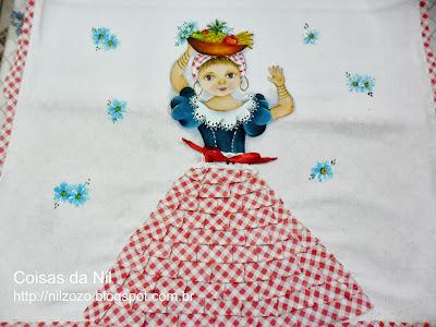 pintura de boneca baiana com tabuleiro de frutas
