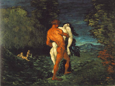 impressionist painting, the abduction painted by Paul Cezanne, of a man carrying away a struggling woman