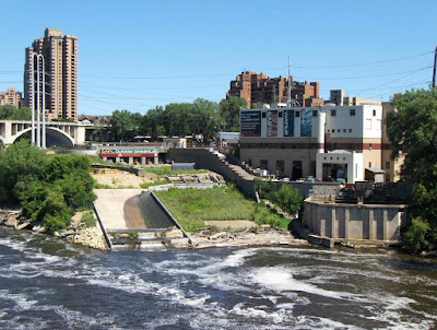 The St Anthony Falls Laboratory on the shore of the Mississippi in Minneapolis