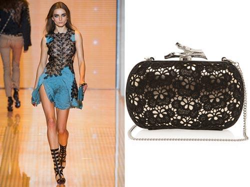 Versace catwalk show, Diane Von Furstenberg clutch bag