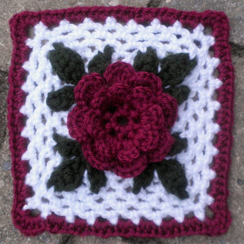 Free Crochet Rose Square Pattern : minding my own stitches: FO: Irish Rose Square for SIBOL