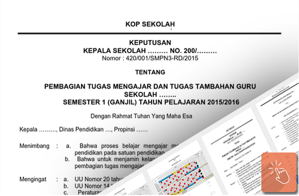 Contoh SK Pembagian Tugas Mengajar dan Tugas Tambahan Guru