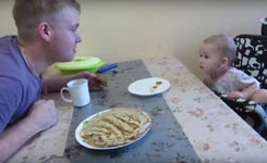 Cute Baby arguing with Dad