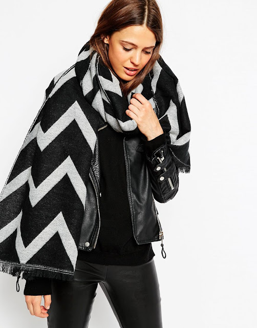 chevron scarf, black grey chevron scarf,