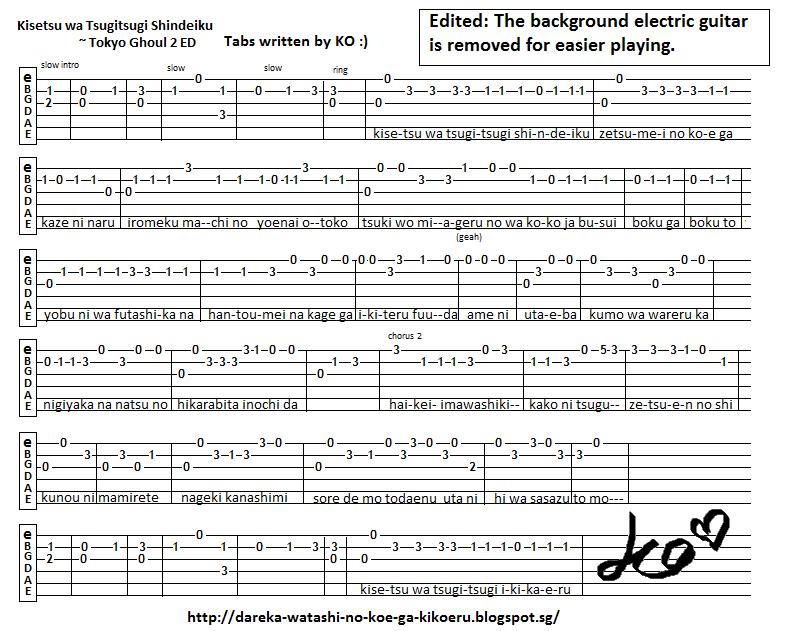 Anime Guitar Tabs: Tabs for Kisetsu wa Tsugitsugi Shindeiku - Tokyo Ghoul 2 ED