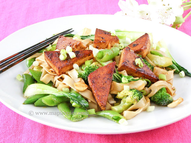 Spicy Ginger Tofu with Greens, Almonds and Udon Noodles