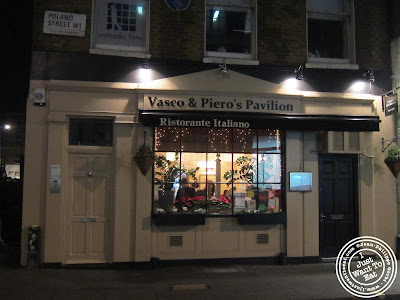Image of Entrance of Vasco and Piero's Pavilion Italian restaurant in London, England