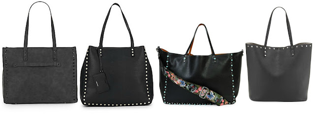 One of these studded totes is from Valentino for $4,595 and the other three are under $40. Can you guess which one is the designer bag? Click the links below to see if you are correct!