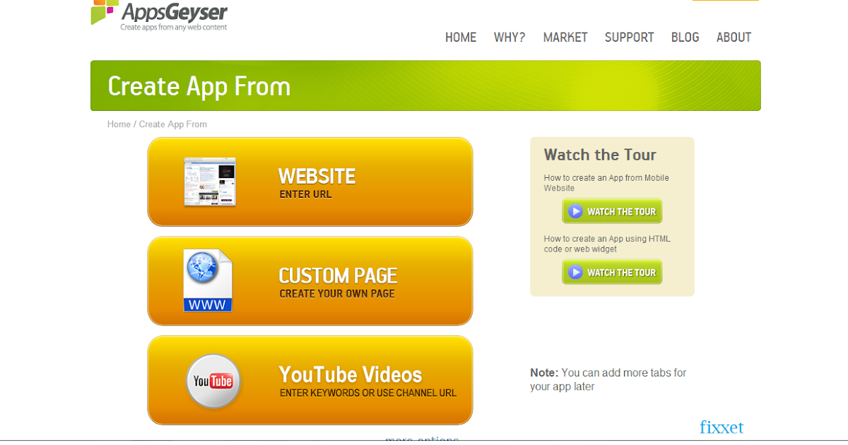 Create free android app for blog or webpage fixxet Create free app online