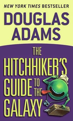 the cover of The Hitchhiker's Guide to the Galaxy by Douglas Adams