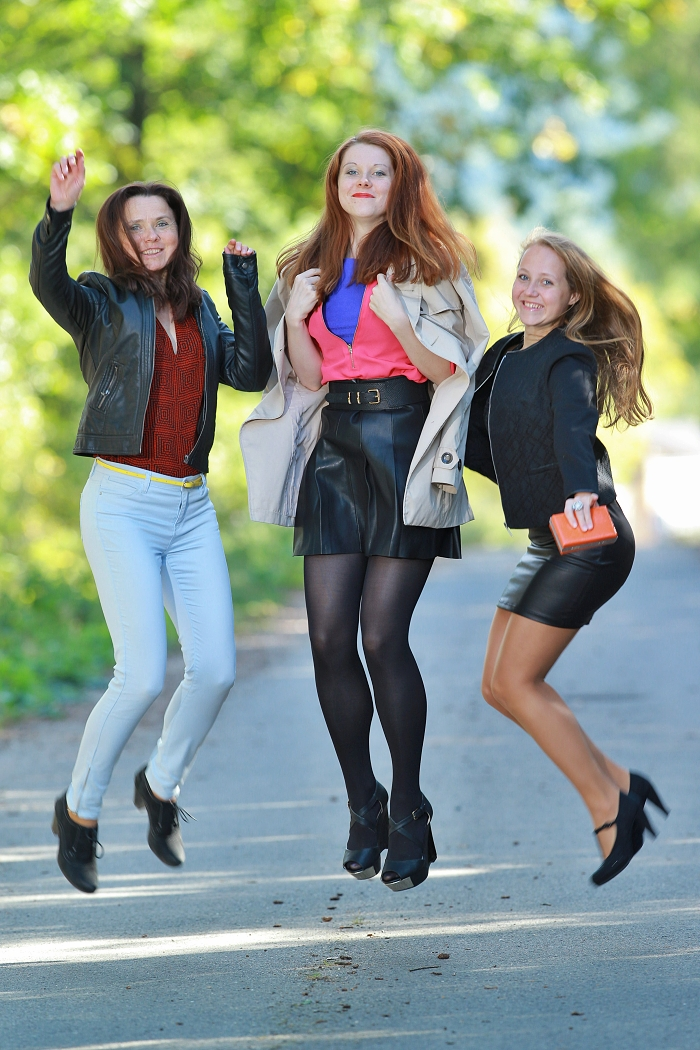 we wear, how to wear leather, michala srbová, martina srbová, lucie srbová