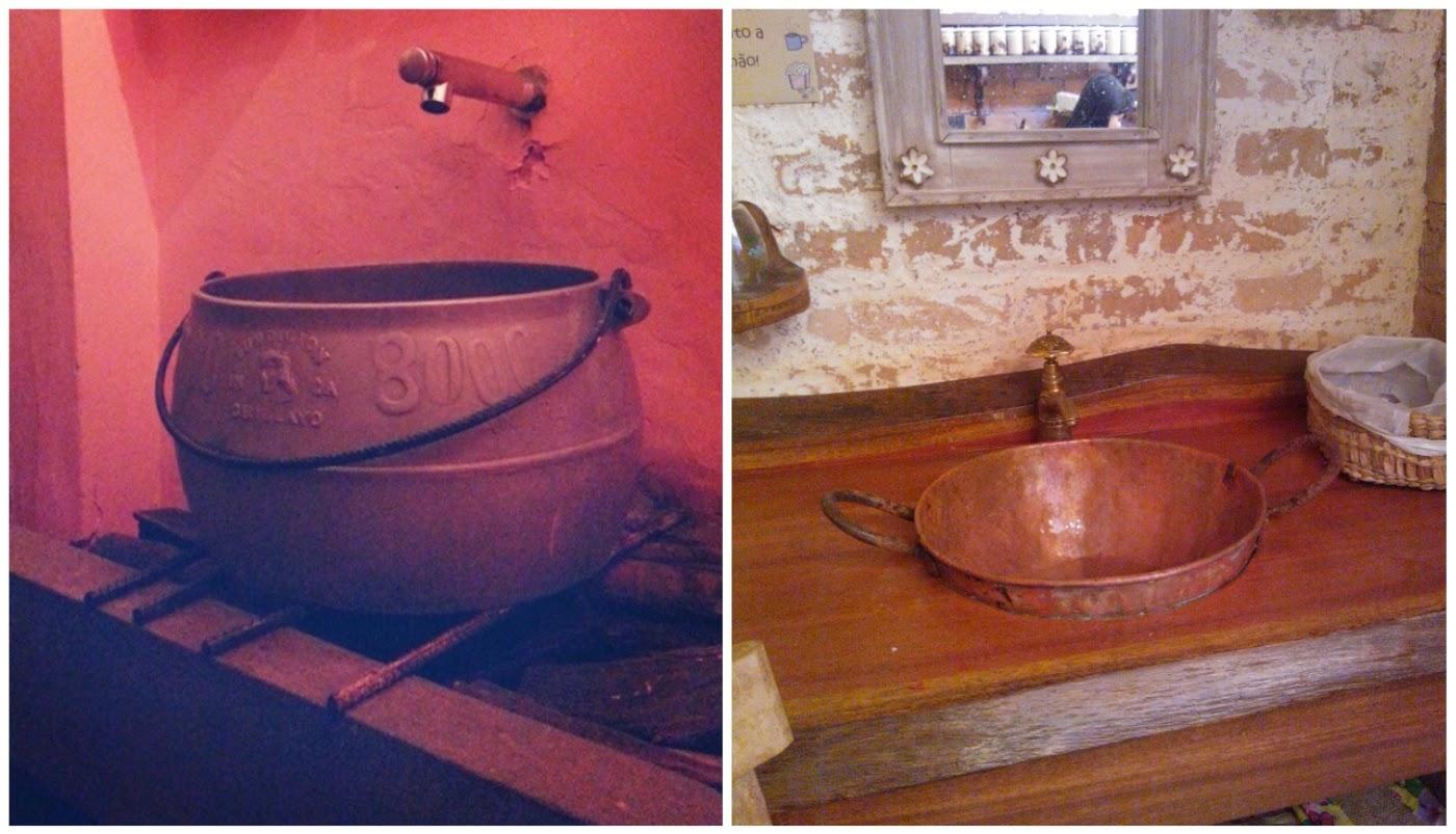 caldeirão virou pai de um boteco e um tacho de cobre virou cuba na loja de doces - novos usos para velhos objetos