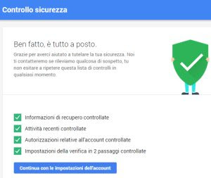check-up protezione account Google