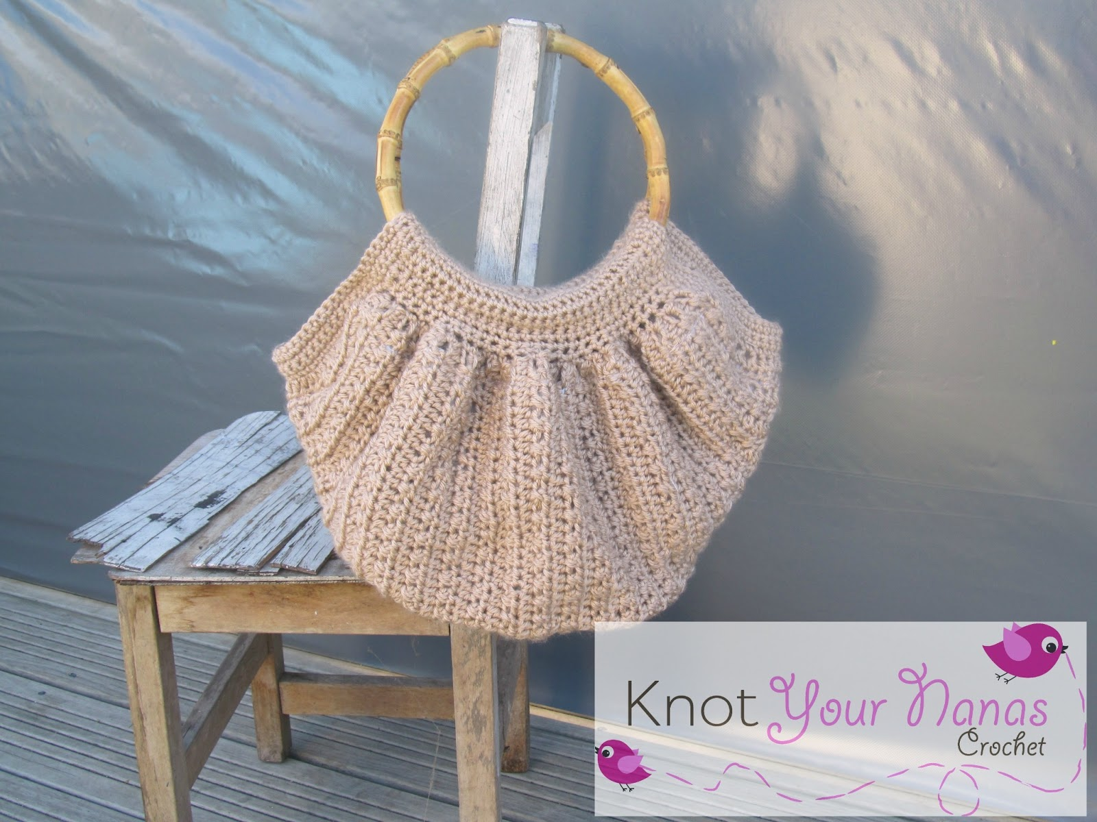 Crochet Bag Bamboo Handles Pattern : Knot Your Nanas Crochet: Crochet Fat Bag with Bamboo Handles