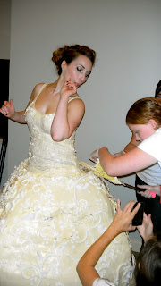 Putting the cake dress on