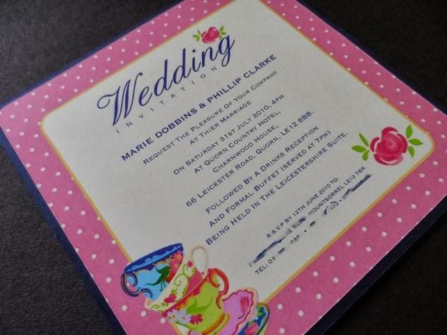 интересна сватбана покана стил чаено парти