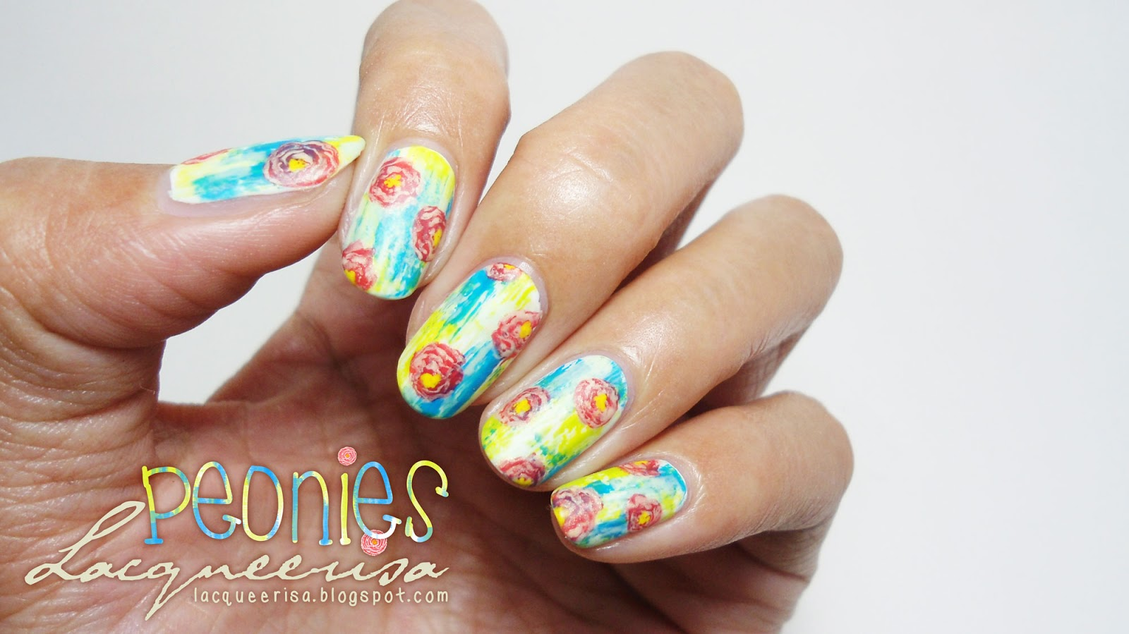 Lacqueerisa: Peonies Nails
