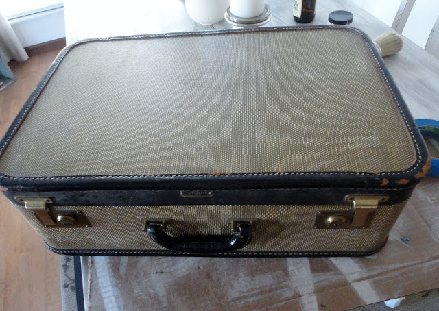 Red cross inspired vintage suitcase, by Behind the Red Door, via I Love That Junk