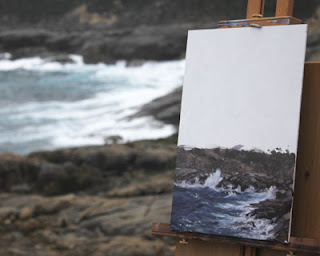 Plein Air seascape on location. Andy Dolphin.