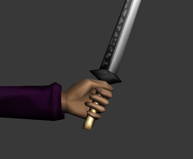 Mano cerrada sujetando espada