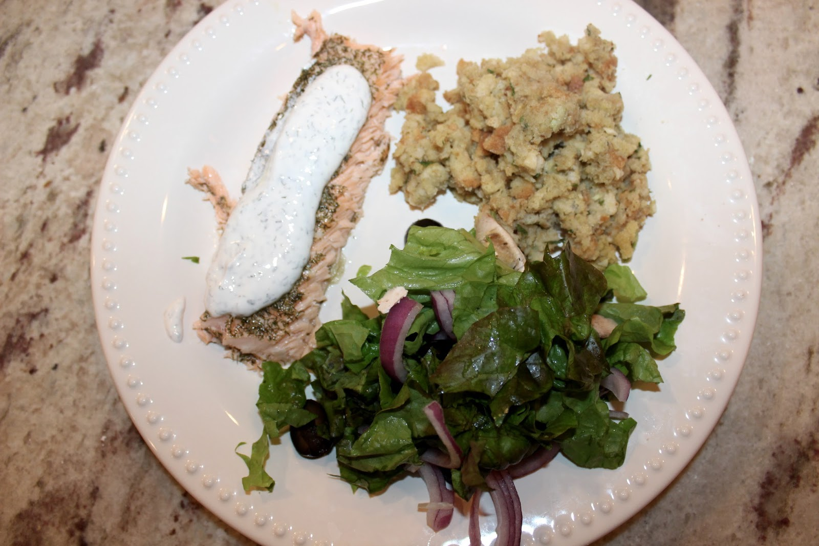 15009 Farmhouse: Roasted Salmon with Dill Sauce...Farmer ...
