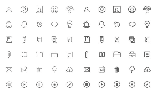 Free Wireframe Icons PSD