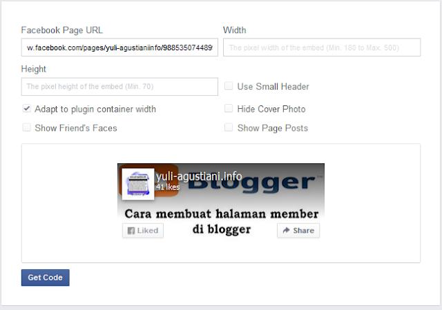 cara membuat page plugin facebook untuk blog