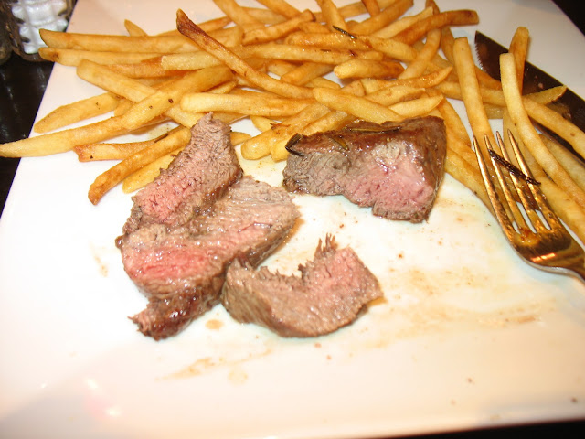 Cut up Flatiron Steak cooked medium